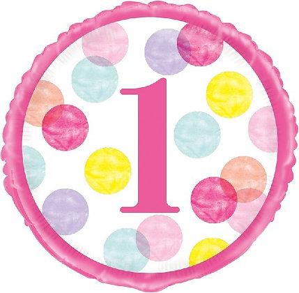 Pink 1st Birthday Foil