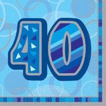 Blue Glitz Age 40 Napkin