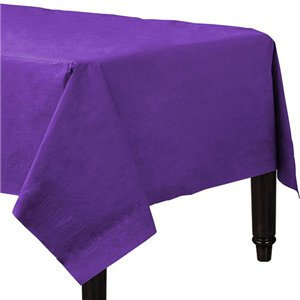 Purple Plastic-Lined Paper Tablecover