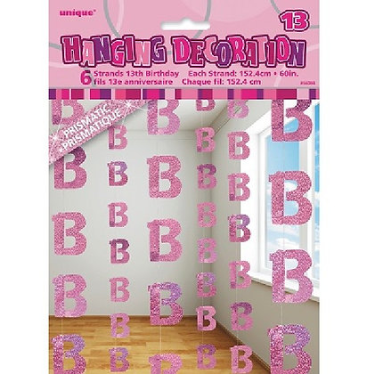 Pink Glitz Age 13 String Decoration