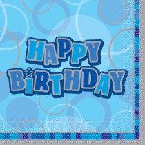 Blue Glitz Happy Birthday Napkin