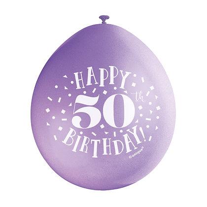 "Age 50 9"" Latex Multi Coloured Balloons"
