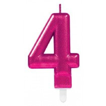Pink Number 4 Candle