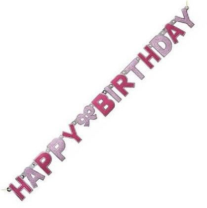 Pink Glitz Happy Birthday Letter Banner
