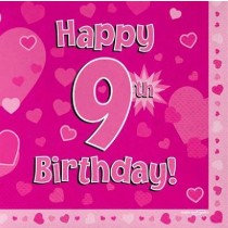 Pink Age 9 Napkin