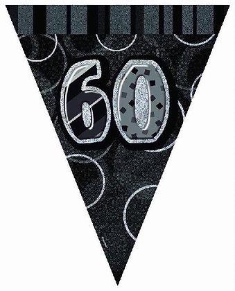 Black Glitz Age 60 Bunting