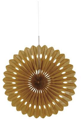 """Gold 16"""" Paper Fan"""