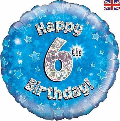 Blue Number 6 Foil Balloon