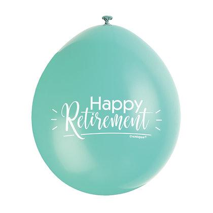 "Retirement 9"" Latex Multi Coloured Balloons"