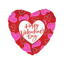 Pink & Red Heart Valentines Day Foil Balloon