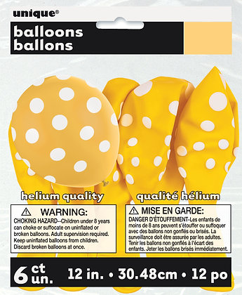"Yellow Dotty 11"" Latex Balloons"