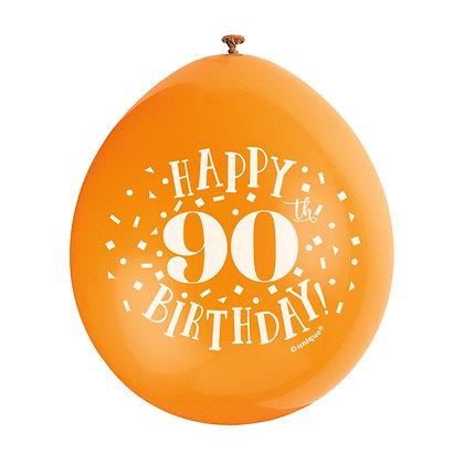 "Age 90 9"" Latex Multi Coloured Balloons"