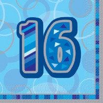 Blue Glitz Age 16 Napkin