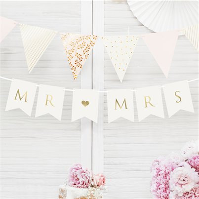 White and Gold MR & MRS Bunting