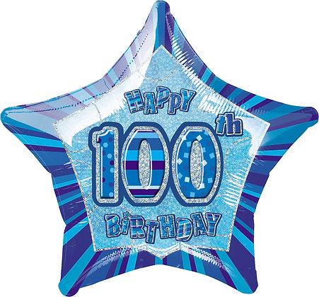 Blue Glitz Age 100 Foil Balloon