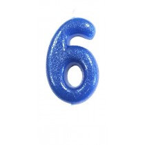 Blue Glitter Number 6 Candle