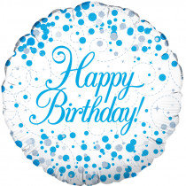 Sparkling Blue Fizz Happy Birthday Std Foil Balloon