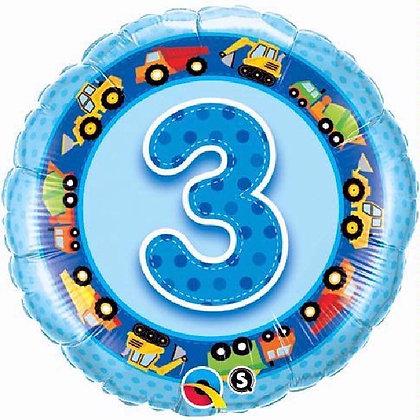 Blue Number 3 Foil Ballon