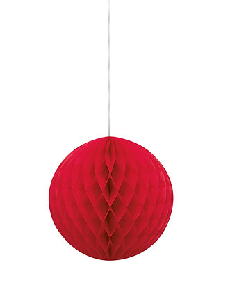 """Red 8"""" Paper Honeycomb Ball"""