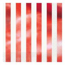 White and Metallic Red Striped Napkins