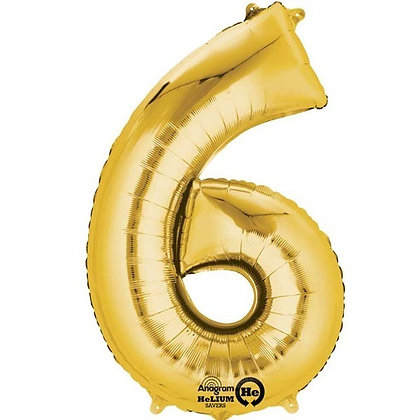 Gold Giant Number 6 Foil Balloon