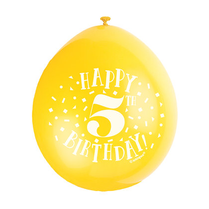 "Age 5 9"" Latex Multi Coloured Balloons"