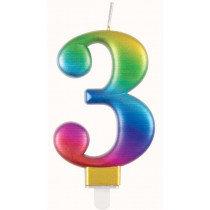 Metallic Rainbow Number 3 Candle