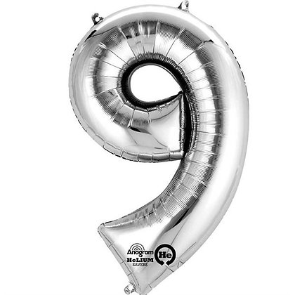 Silver Giant Number 9 Foil Balloon