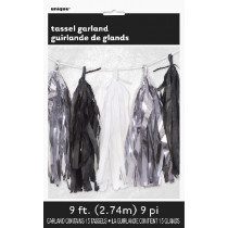 Black, White and Silver Tassel Garland