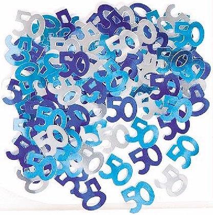 Blue Glitz Age 50 Confetti