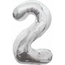 Silver Giant Number 2 Foil Balloon