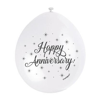 """Anniversary 9"""" Latex White Balloons"""
