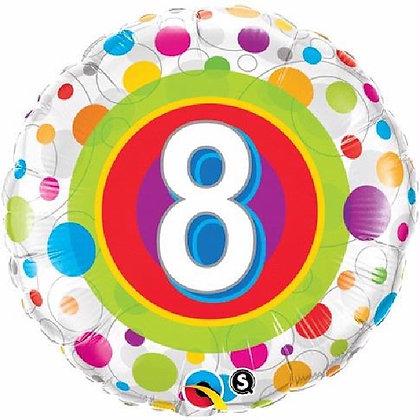 Colourful Dots Age 8 Foil Balloon