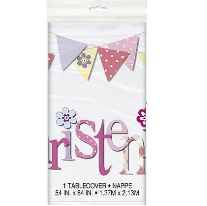 Pink Bunting Christening Table Cover