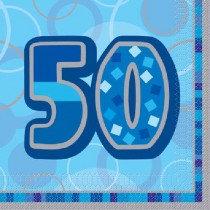 Blue Glitz Age 50 Napkin