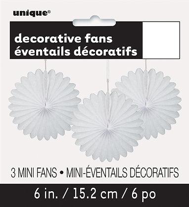 "White 6"" Mini Paper Fans"