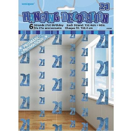 Blue Glitz Age 21 String Decoration