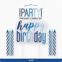 New Glitz Blue Happy Birthday Candle Set
