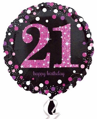 Pink Sparkle Age 21 Foil Balloon
