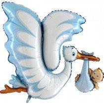 Super Shaped Blue Stork Foil Balloon