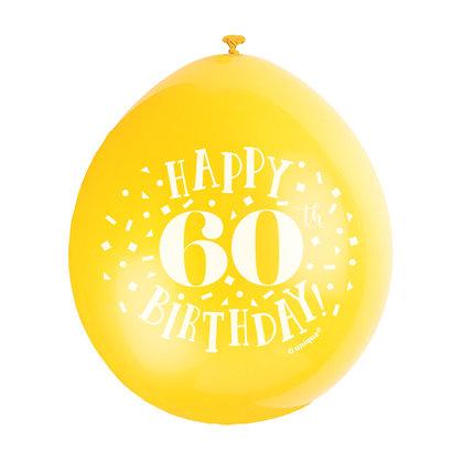 "Age 60 9"" Latex Multi Coloured Balloons"