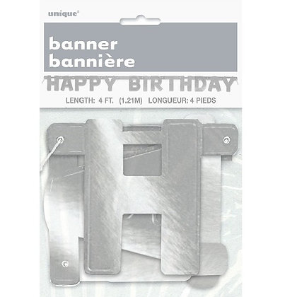 Silver Happy Birthday Letter Banner