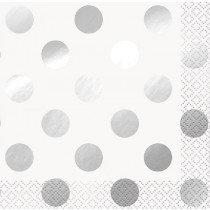 White and Metallic Silver Dot Napkins