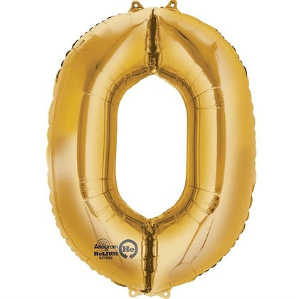 Gold Giant Number 0 Foil Balloon