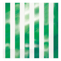 White and Metallic Green Striped Napkins