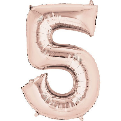 Rose Gold Giant Number 5 Foil Balloon