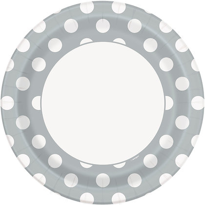 "Silver Dotty 9"" Paper Plates"