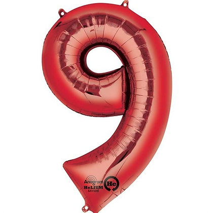 Red Giant Number 9 Foil Balloon