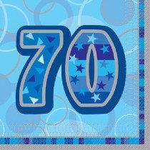 Blue Glitz Age 70 Napkin