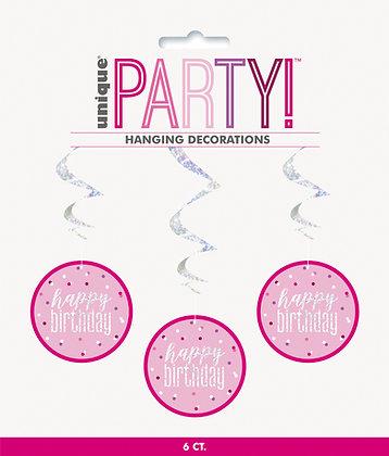 New Glitz Pink Hanging Swirl Decorations
